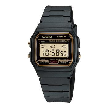 CASIO 復古潮流魅力電子錶(金框)F-91WG-9QDF