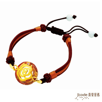 J'code真愛密碼 經典茶花 純金中國繩手鍊