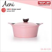 《韓國NEOFLAM》Aeni系列 20cm陶瓷不沾湯鍋+陶瓷塗層鍋蓋(EK-AD-C20-粉紅色)