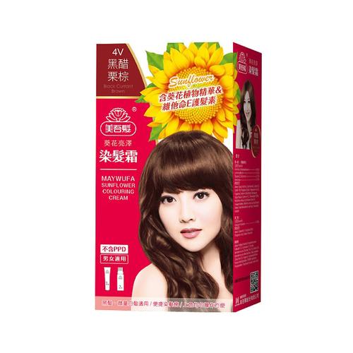美吾髮 葵花亮澤染髮霜-4v號 黑醋栗棕(盒)