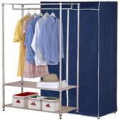 《百變王》120*45*180三層防塵衣櫥架(深藍灰邊)(深藍灰邊)
