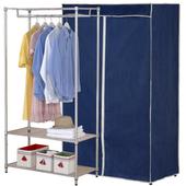 《克諾斯》三層防塵衣櫥架90*45*180-多色可選(深藍灰邊)