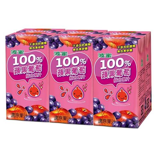 波蜜 100%蘋果葡萄汁(160ml*6包/組)