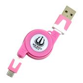 《WICKED FORCE 危客》micro USB 專用伸縮充電/傳輸線(粉紅色)