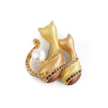 大東山珠寶 Luperla L&H童話森林系列 戀月貓咪時尚胸針 (古銅金)