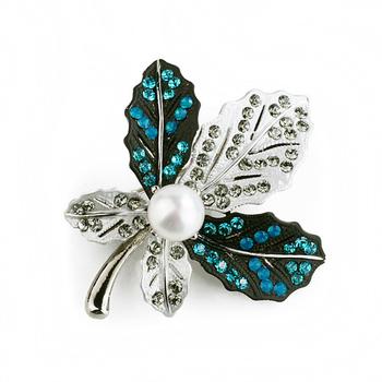 大東山珠寶 Luperla L&H童話森林系列 個性楓葉時尚胸針 (幻彩藍+銀灰)