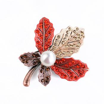 大東山珠寶 Luperla L&H童話森林系列 個性楓葉時尚胸針 (豔紅+古銅金)