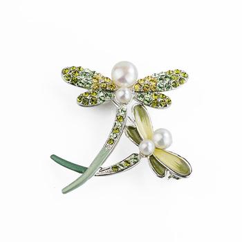 大東山珠寶 Luperla L&H童話森林系列 雙飛蜻蜓時尚胸針 (孔雀綠)