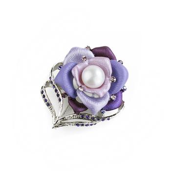 大東山珠寶 Luperla L&H童話森林系列 柔情玫瑰時尚胸針 ( 夢幻紫)