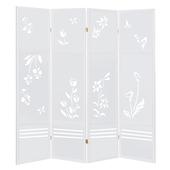 《C&B》四季花卉典雅雕刻屏風(白色)