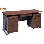 《時尚屋》150CM 胡桃木紋色BTH辦公桌櫃組252-6 (深灰)