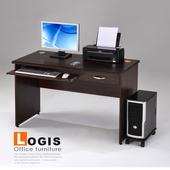 《LOGIS》功能電腦辦公桌-附主機架(胡桃色)