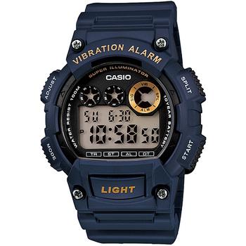 CASIO 靜音振動數位電子腕錶(藍)W-735H-2A