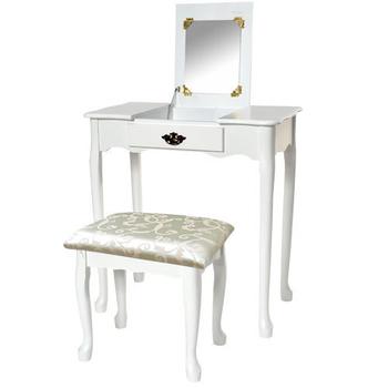 《Asllie》掀蓋化妝桌椅組(白色)
