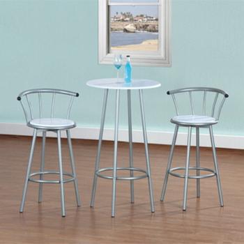 高級鋼管-洽談吧台桌椅組(素雅白色)