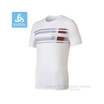 瑞士 ODLO 男款 銀離子抗UV圓領造型短袖T恤.排汗衣 / 220892(白 M)