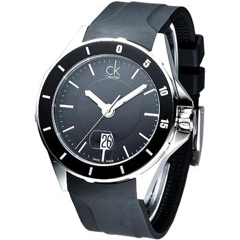 Calvin Klein 運動時尚風大錶徑腕錶-黑 K2W21XD1