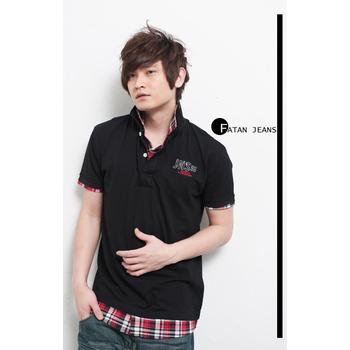 FATAN JEANS 美式假兩件襯衫式立領印字短袖POLO衫-3色(黑)