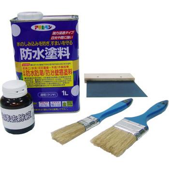 Asahipen 日本製 防水防潮/壁癌整治強效組(含:強力防水/防壁癌塗料1L+ 油漆去除液90ml+ 鐵刮板1只 + 毛刷2支+砂紙2片 )