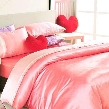 英國Abelia 唯美絕色。雙人絲緞兩用被床包組--俏麗粉