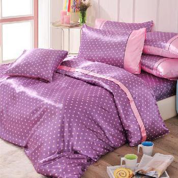 英國Abelia 繽紛水玉系列。雙人絲緞兩用被床包組-深紫
