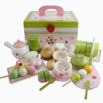 和風懷石茶會木製玩具手提家家酒組(木製抹茶蛋糕.木製茶罐.木製丸子)