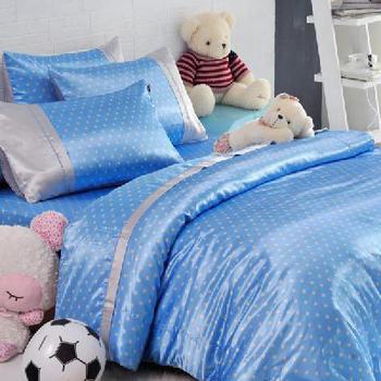 英國Abelia 繽紛水玉系列。加大絲緞兩用被床包組-藍