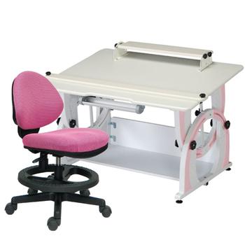 時尚屋 KIWI兒童升降成長書桌椅組-粉紅色(粉紅色椅)