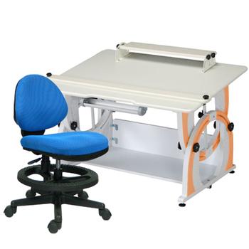 時尚屋 KIWI兒童升降成長書桌椅組-活力橘(藍色椅)