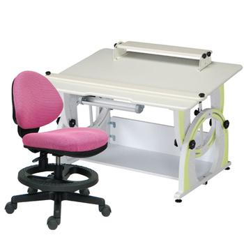 時尚屋 KIWI兒童升降成長書桌椅組-蘋果綠(粉紅色椅)