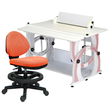 時尚屋 KIWI兒童伸縮成長書桌椅組-粉紅色(橘色椅)