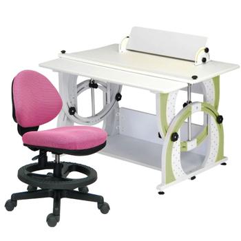 時尚屋 KIWI兒童伸縮成長書桌椅組-蘋果綠(粉紅色椅)
