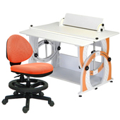 《時尚屋》KIWI兒童伸縮成長書桌椅組-活力橘(橘色椅)