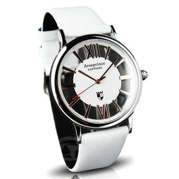 Arseprince 羅馬假期雙面鏤空時尚男錶(白金)