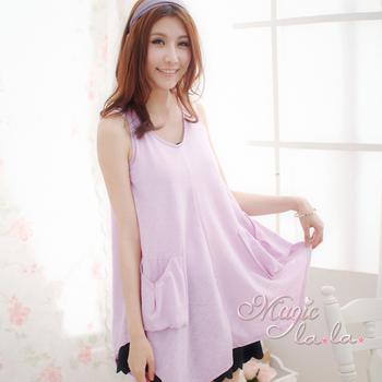 Magic la.la. 雙口袋長版背心裙洋裝(粉嫩淡紫)(粉嫩淡紫F/30-36吋內)