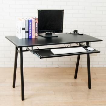 馬鞍皮面附插座電腦桌(黑色)