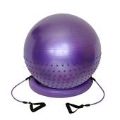 《Sport-gym》70cm半棵顆粒半平面防爆球+貝果穩定環(防爆材質)+彈力繩~韻律瑜珈生產球組(70cm紫)