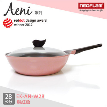 韓國NEOFLAM Aeni系列 28cm陶瓷不沾炒鍋+玻璃鍋蓋(EK-AN-W28粉紅色)