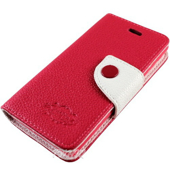 KooPin SONY Xperia ZR (C5502) 雙料縫線 側掀(立架式)皮套(蜜桃紅)