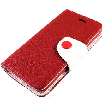 KooPin SONY Xperia ZR (C5502) 雙料縫線 側掀(立架式)皮套(豔情紅)