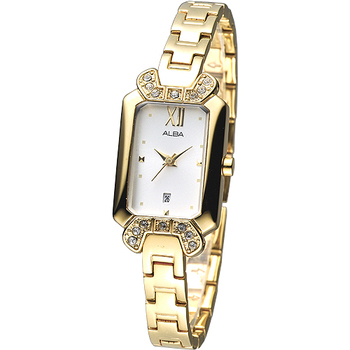 ALBA 浪漫韓系風個性晶鑽女錶-IP金 AH7436X1