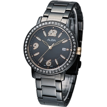 ALBA 絢麗晶鑽潮流風女腕錶-全IP黑 AG8265X1