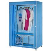 【免工具】折疊式鐵管吊衣櫥-附布套4色可選-95公分寬(天空藍)