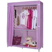 【免工具】折疊式鐵管吊衣櫥-附布套4色可選-110公分寬(粉紅色)