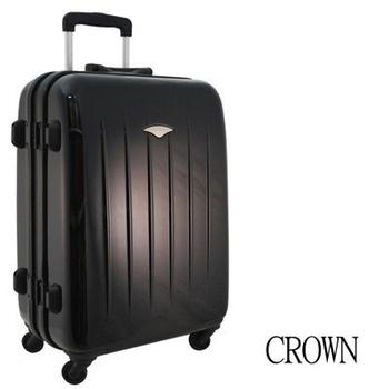 CROWN 皇冠 24吋時尚亮面鋁框硬殼海關鎖行李箱(黑色)