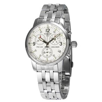 TISSOT PRC 200 競速藍寶石水晶三眼計時腕錶(T17158632-白面)