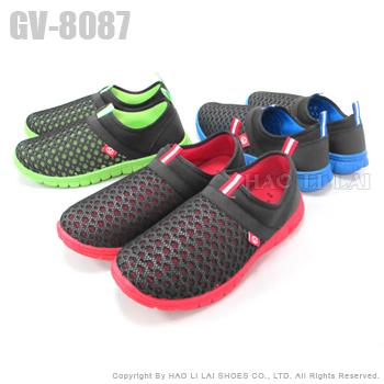 GIOVANNI VALENTINO 撞色透氣網格鳥巢鞋休閒鞋(黑紅27)