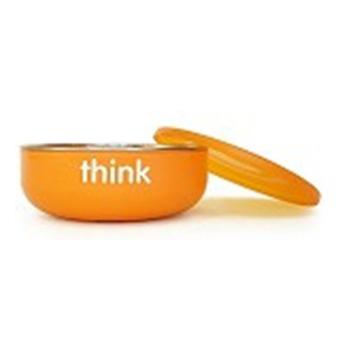 Thinkbaby 無毒不鏽鋼餐具-寶寶碗(淺碗)(橘色)