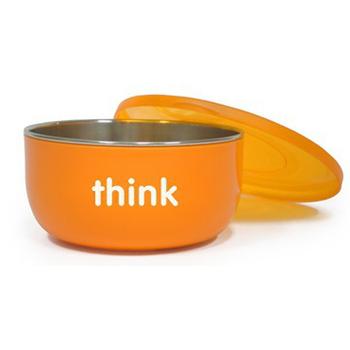 Thinkbaby 無毒不鏽鋼餐具-寶貝湯碗(深碗)(橘色)