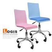 《LOGIS》香彩曲木皮墊事務電腦椅(粉藍鐵腳)